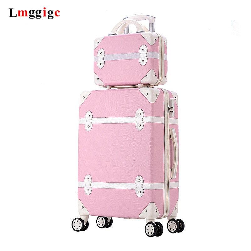 Women Valise Trolley Case Set Wheel Retro Travel Suitcase Box Vintage Rolling Luggage