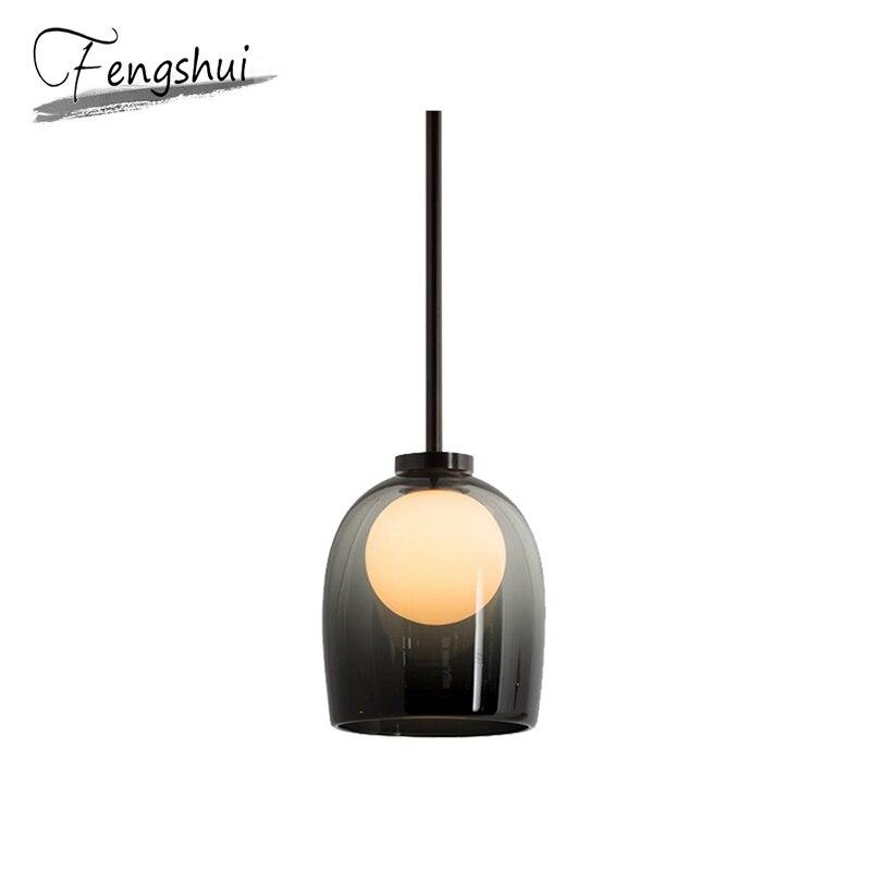 Nordic Iron Pendant Lights Lamp Glass LED Pendant Lighting Living Room Dining Room Bedside Bedroom Bar Loft Decor Hanging Lamp
