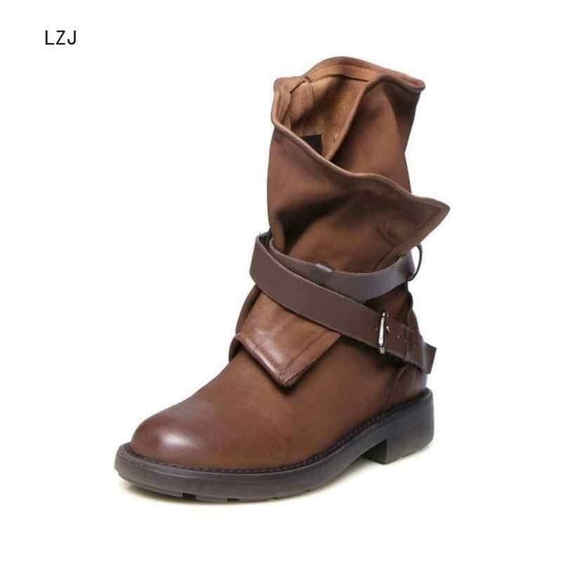 LZJ 2019 kadın moda Vintage orta buzağı çizmeler yumuşak deri ayakkabı kadın sonbahar kış motosiklet botları rahat Botas
