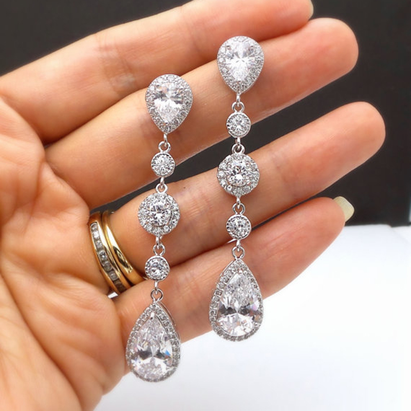 Luxury Long Earrings For Women Wedding Jewelry Trendy Water Droplets Beads Zircon Earring Pendientes Bijoux