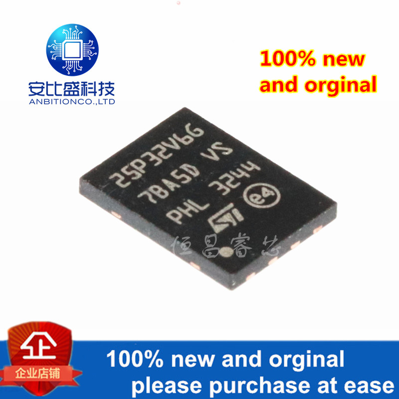 1pcs 100% New And Orginal M25P32-VME6TG Silk-screen 25P32V6G 32Mbit QFN In Stock