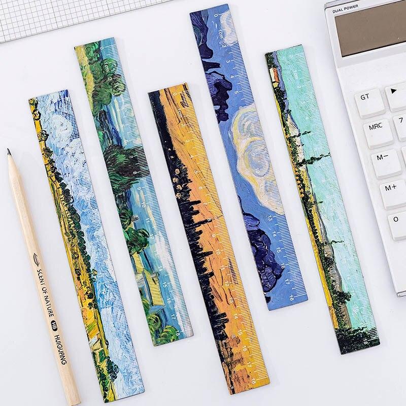 1PC Retro Painting Rulers Literary Van Gogh Straight Rulers For Childrens Girls Gitt School Office Supplies Measure Stationery