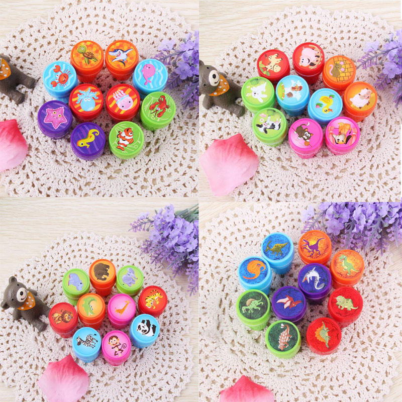10pcs/Set Cartoon Bring Inkpad Seal Toy School Office Party Favors Kids Educational Stationery Cute Animals Seal Round Plastic