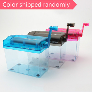 A6 Mini Hand Crank Blue Shredder Crusher Destroyer Paper Documents Cutting Machine-scll Office Home Manual Paper Shredder 1