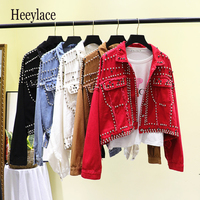 2019 Autumn Women Harajuku Red Denim Jacket Coat Heavy Hand Beaded Rivet Short Black Jeans Jacket Student Basic Coats Outfit