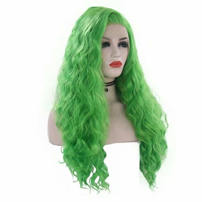Aimeya lado parte verde longo encaracolado peruca