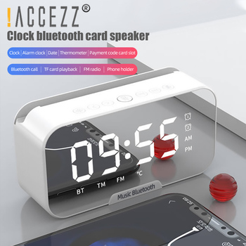 !ACCEZZ Bluetooth Speaker With FM Radio TF Card AUX Cable Wireless Loudspeakers For Xiaomi Cell Phone Alarm Clock Mirror Boombox