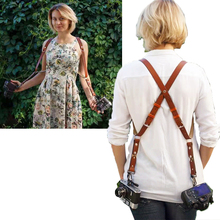 Travel camera strap Photographer women suspender leather Rivet retro brace vintage men acessorios masculino