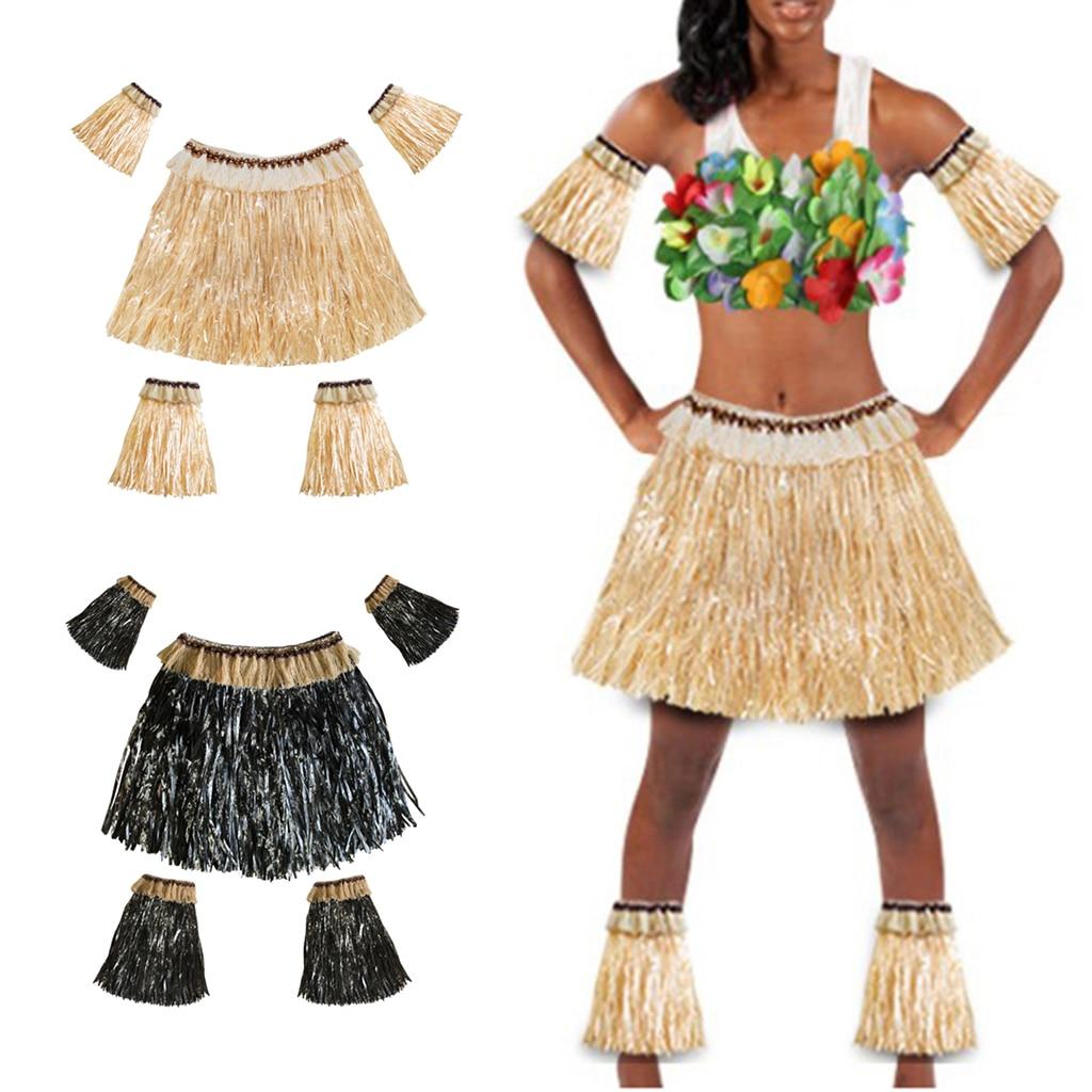 2Pcs Adults Hawaiian Hula Grass Skirts Arm Leg Sleeves Fancy Dress Costume Set Dance Costume