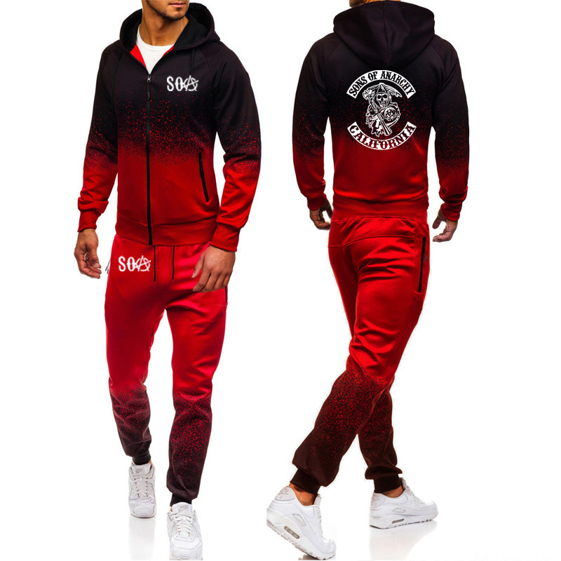 SOA Sons Of Anarchy The Child Sportswear Skull Print Gradient Hoodies Men Streetwear Zipper Jacket Sweatshirt Sweatpants Suit