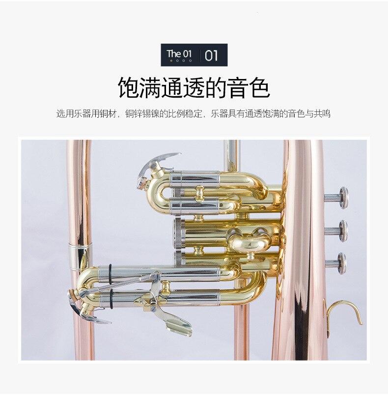 B-down flugelhorn instrumento musical três-vertical chave furuge