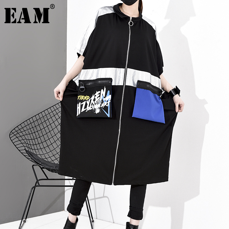 [EAM] Women Black Pocket Stitch Big Size Trench New Stand Collar Half Sleeve Loose Fit Windbreaker Fashion Spring 2020 1S054