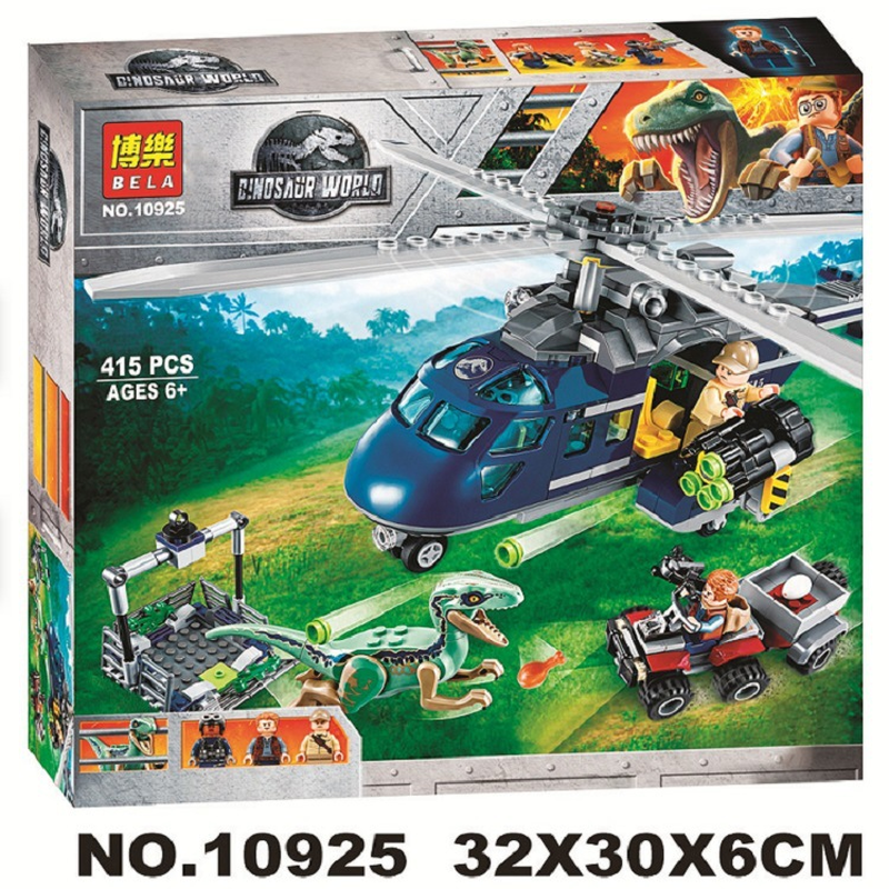 Image 2 - 10925 Jurassic Parked  Blue's Helicopter Pursuit 415Pcs Bricks Compatible Legoinglys Jurassic World Model Building Blocks-in Blocks from Toys & Hobbies