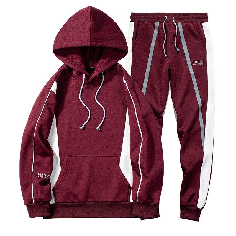 Пуловер с круглым вырезом и капюшоном, набор мужских повседневных толстовок с капюшоном, осенний и зимний комплект из двух предметов с