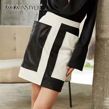 TWOTWINSTYLE Leather Patchwork Black White Bodycon Skirt For Women High Waist Hit Color Mini Skirts Female 2020 Summer New Tide