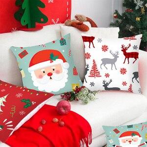 Image 3 - 1pcs 45cm Merry Christmas Cushion Cover Elk Santa Claus Decorating Christmas Ornaments Christmas 2020 Xmas Gifts New Year 2021