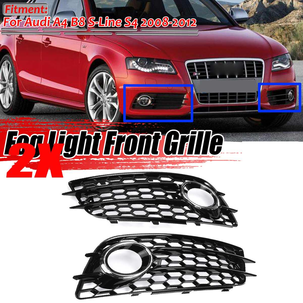 2PCS Car Front Fog Light Grille Cover Honeycomb Fog Lamp Grill For Audi A4 B8 S-Lines S4 Bumper 2008-2012 8K0807681C 8K0807682C