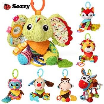 Bonito cochecito de bebé Sozzy con textura de animales de peluche, cuna suave, decoración colgante, juego de actividades, Juguetes Divertidos para bebés, teléfono móvil para niños