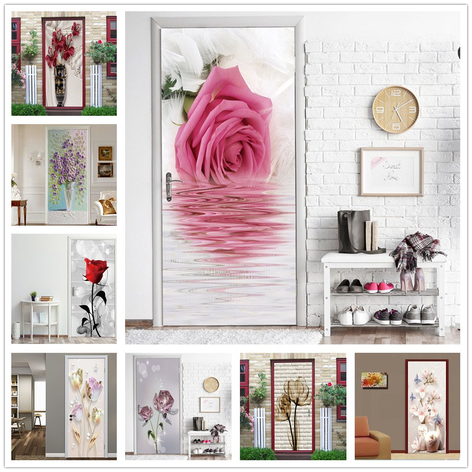 Beautiful Flowers Door Stickers Self-adhesive Waterproof Wallpaper For Doors Living Room Bedroom Home Decor Art Poster De Portes