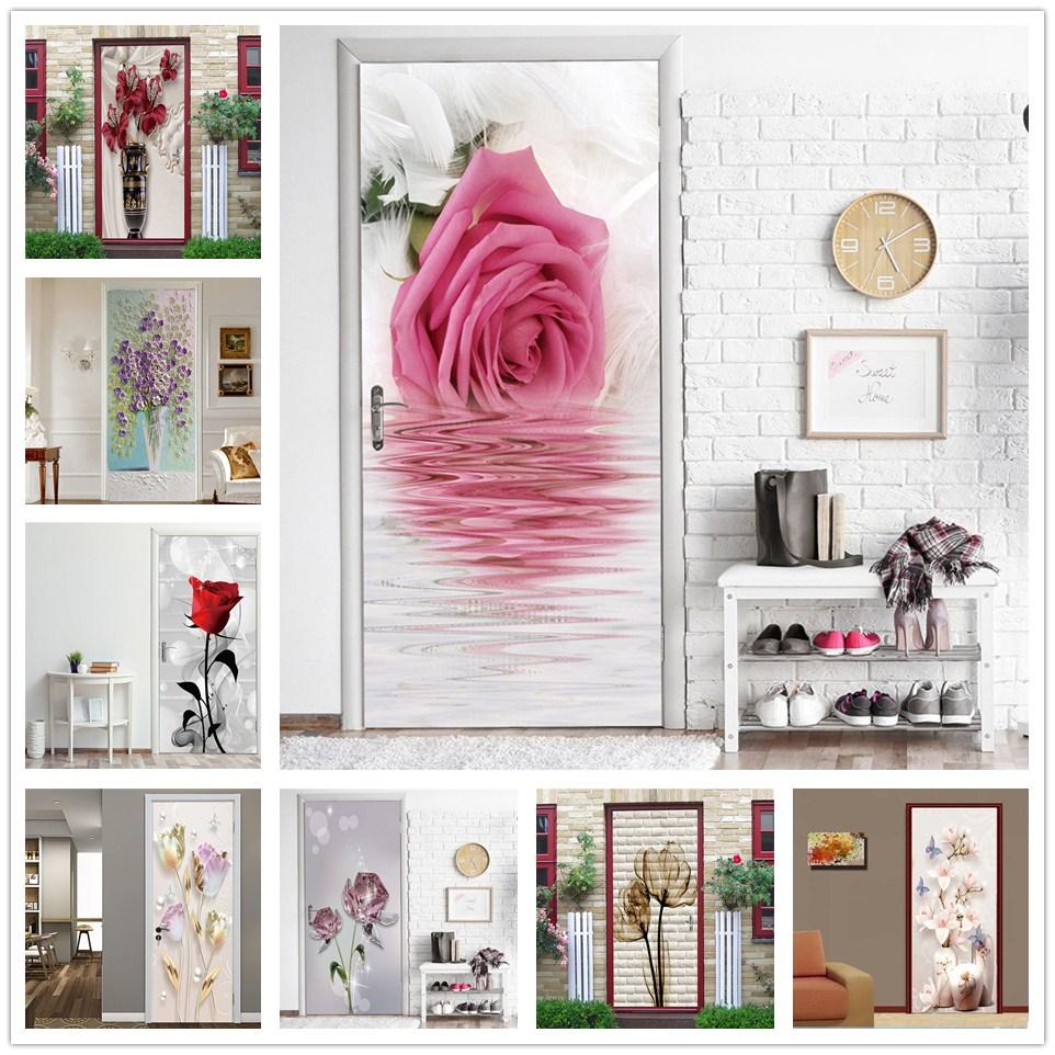 Beautiful Flowers Door Stickers Self-adhesive Waterproof Wallpaper For Doors Living Room Bedroom Home Decor Art Poster De Portes