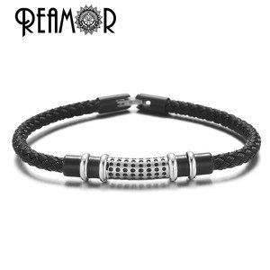 REAMOR, простой стиль, структурный дизайн, мужские браслеты для женщин, волнистые бусины, черный браслет из нержавеющей стали, ювелирные издели...