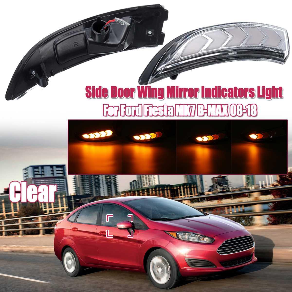 Paire clignotant coulant LED aile latérale rétroviseur indicateur dynamique clignotant pour Ford pour Fiesta MK7 B-MAX 08-18