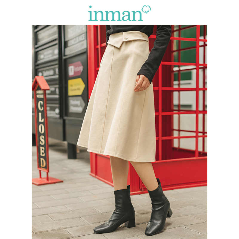 INMAN 2019 Autumn Winter New Arrival Embroidery A-line Verstand Elegant Apricot All Matched Women Skirt