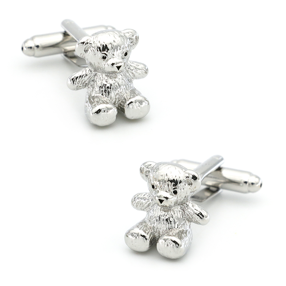 Toys Cuff Links For Men Teddy Bear Design Quality Brass Material Silver Color Cufflinks Wholesale&retail