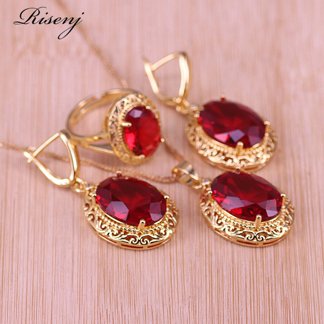 Risenj Dubai Luxury Style Many Colors Big Red Stone Gold Color Jewelry For Women Adjustable Ring Necklace Set Free Shipping 1