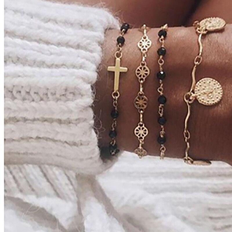 4 PCS/Set Gold Cross Charm Bracelets for Women Rosary Beads Chain Gold Coin Pendants Bracelets on the Leg Lucky Braclets Jewelry