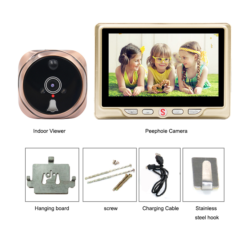 Saful judas numérique caméra vidéo porte cloche vidéo-oeil avec carte TF prenant Photo porte judas visionneuse moniteur pour la maison - 6