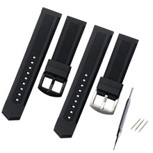 New Rubber Watchband 22mm Men Black Sport Diving Silicone Watch Band Strap Stainless Steel Metal Pin Buckle Bracelet цена 2017