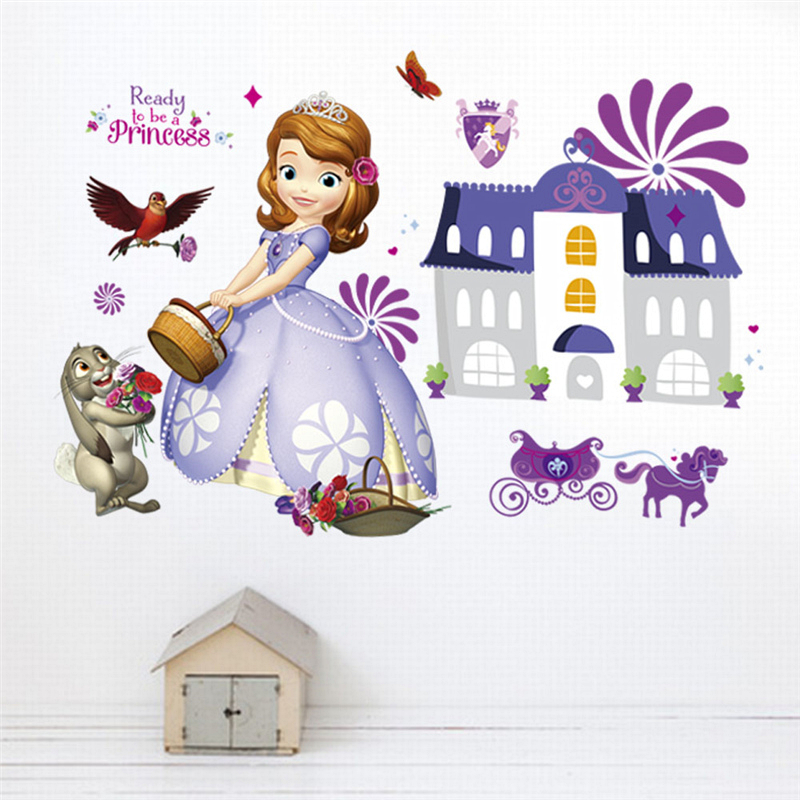 Cartoon Disney Sofia Princess Castle Wall Decals Kids Rooms Nursery Home Decor Anime Wall Stickers Pvc Wallpaper Diy Mural Art in Wall Stickers from Home Garden