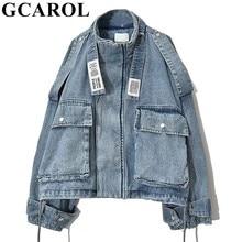 Women Denim Jacket Coat Oversize GCAROL Big-Pockets Boyfriend-Style High-Quality Stand-Collar