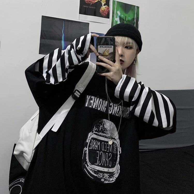 Spring Autumn female  Casual O-Neck stripe Tees harajuku Loose hoodie Women Long Sleeve Oversize top Hip Hop Sweatshirt ins 16
