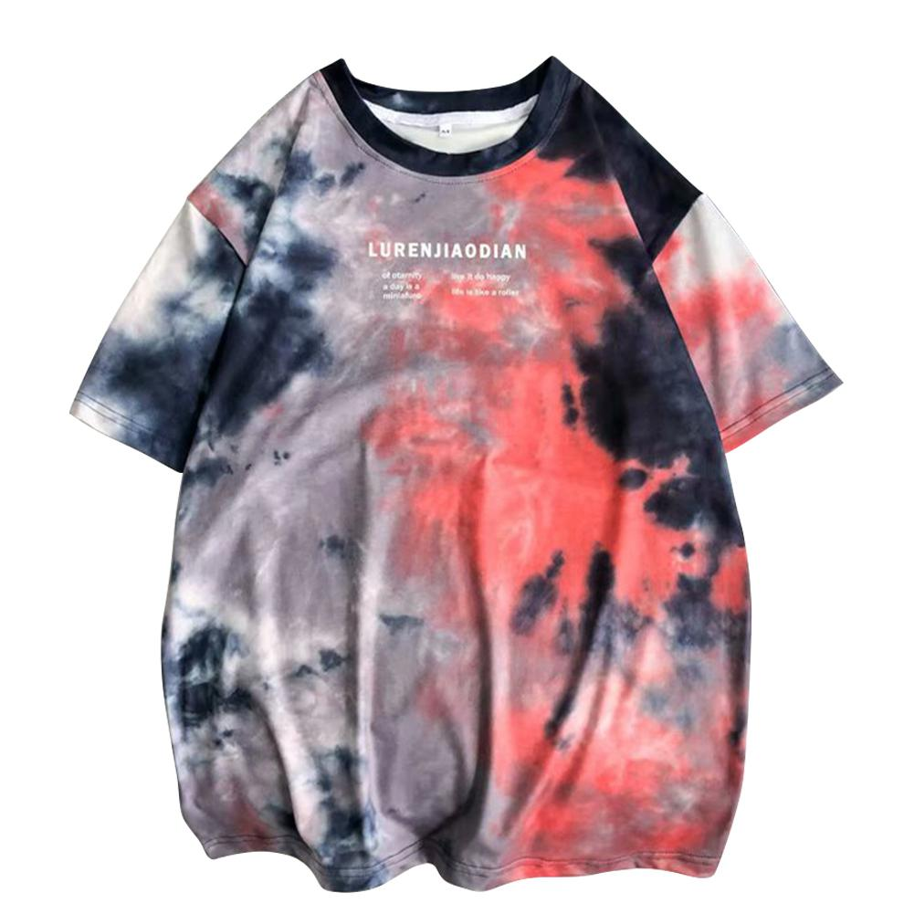 MISSKY Summer Man Woman Tshirt Short-sleeved And Round Neck T-shirts Tie-dye Loose Tops Loose Costume Female Male Tops