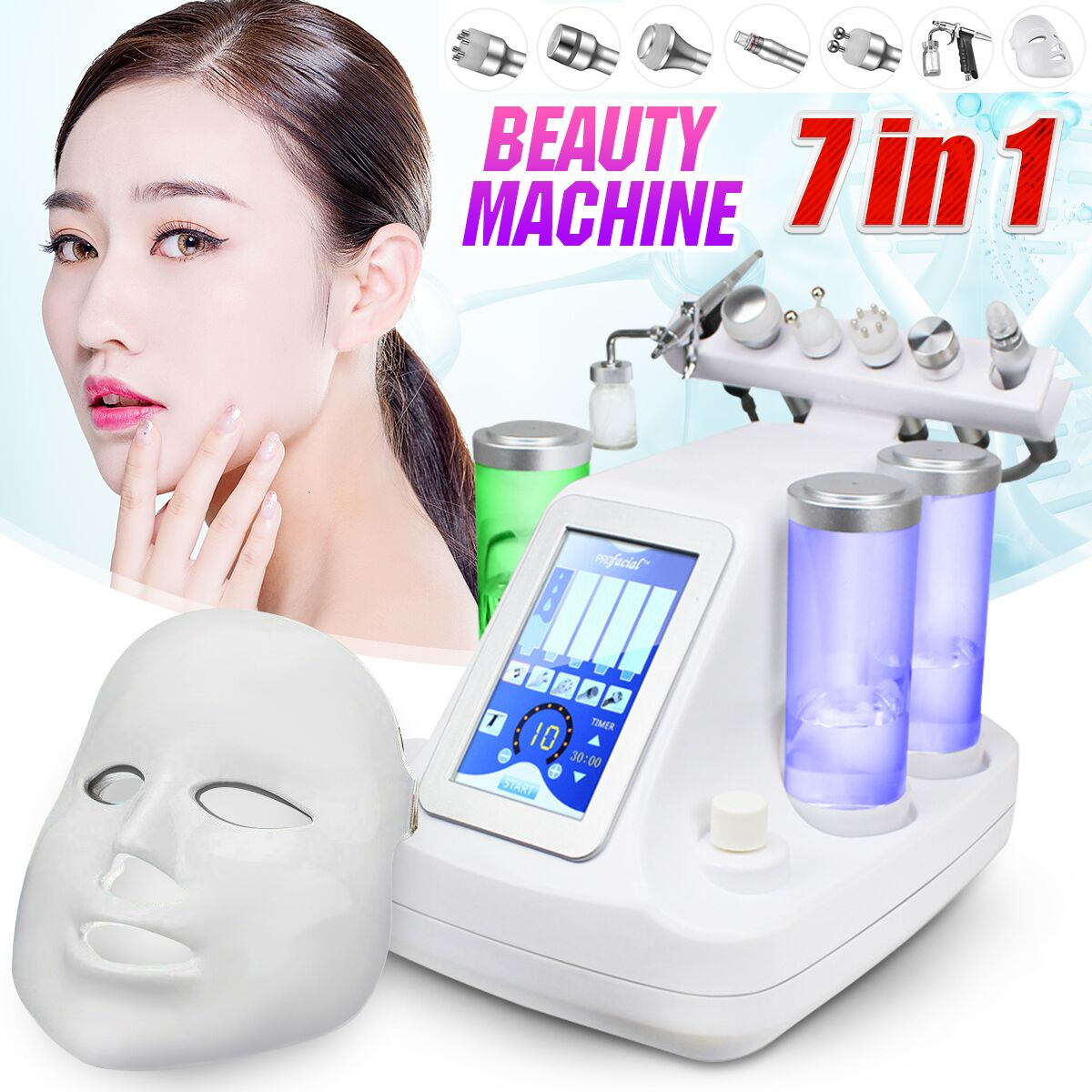 7 In 1 Dermabrasion Peeling Vacuum Cleaning Machine RF Water Oxygen Jet Spa Facial Skin Bio-lifting Beauty Peel Machine