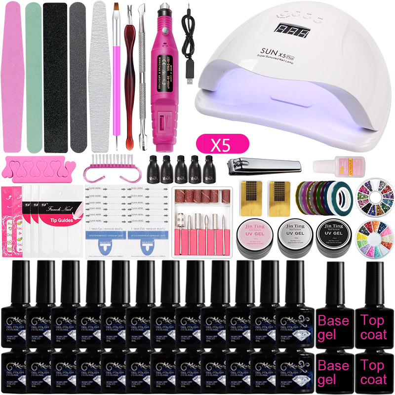 A2 Nail Set LED Lamp For Manicure Set Soak Off Gel Varnish Gel Nail Polish Set For Nail Art Set Electric Nail Dril Tool Set