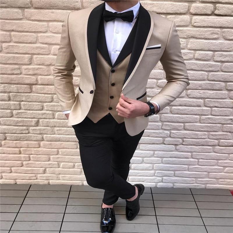 Men's Suit 3 Pieces Casual Shawl Lapel Brown White Costume Homme for Wedding Tuxedos Groomsmen (Blazer+Vest+Pant)