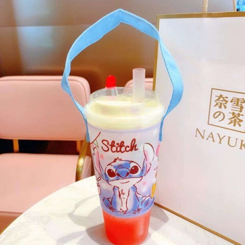 1pc New Creative Totoro Corner Creature Stitch Portable Cartoon Tote Water Cup Bag Anti-Hot Tea Cup Bag Accessories Figure Toys