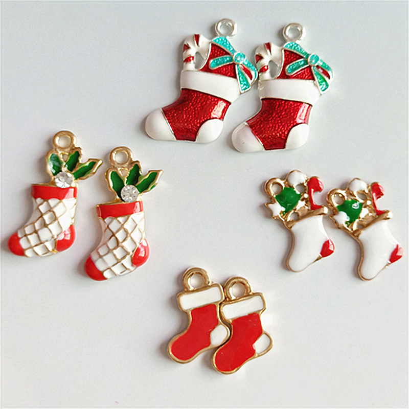 10PCS Alloy Enamel Pendants Charms For Craft Jewelry Making Christmas Stockings
