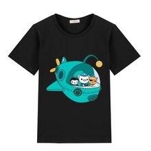 Novo 3-12 t 100% algodão octonauts t camisa crianças t camisas meninos clothingcartoon jogo padrão crianças roupas de verão topos