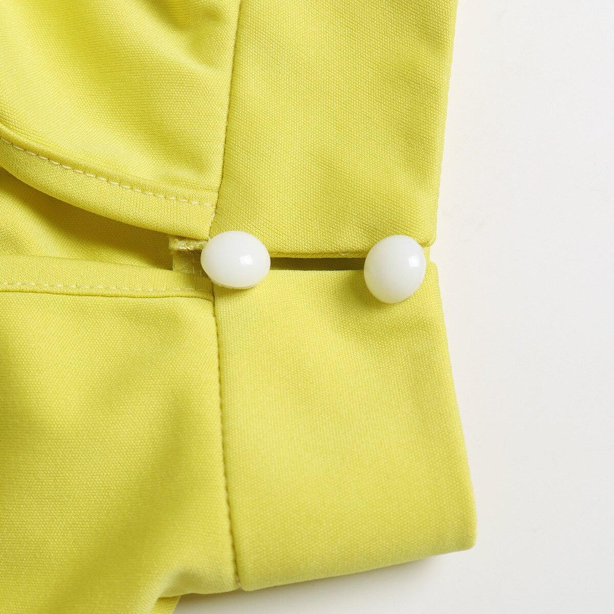 Image 5 - Turtleneck Lantern Sleeve Loose Rompers Womens Jumpsuit Tunic Wide Leg Flare Pants Elegant Overalls Yellow Black White JumpsuitJumpsuits   -