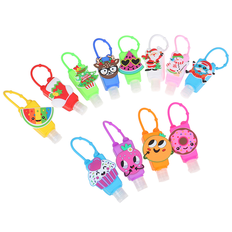Travel Portable 30ML Embossed Cute Colored Cartoon Shape Silicone Mini Hand Sanitizer Disposable No Clean Detachable Cover PVC
