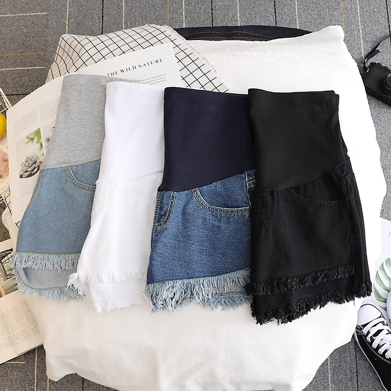17432# Summer Thin White Denim Maternity Shorts High Waist Belly Short Jeans Clothes for Pregnant Women Pregnancy Casual Shorts 2