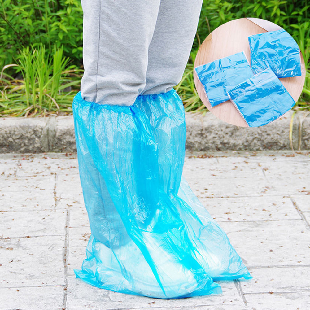 5 Pairs Solid Protective High Top Outdoor Unisex Rain PP Shoe Cover Anti Slip Waterproof Boot Dust Resistant Disposable Blue