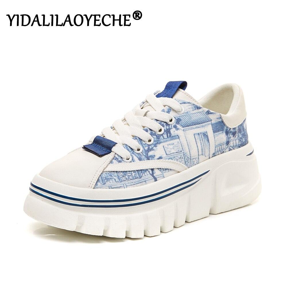 Pila de En necesidad de Dedicar  Print Platform Shoes Autumn Platform Canvas Sneakers Women Lace Up Woman Converse  Platform Shallow Women Fashion Sneakers|Women's Vulcanize Shoes| -  AliExpress