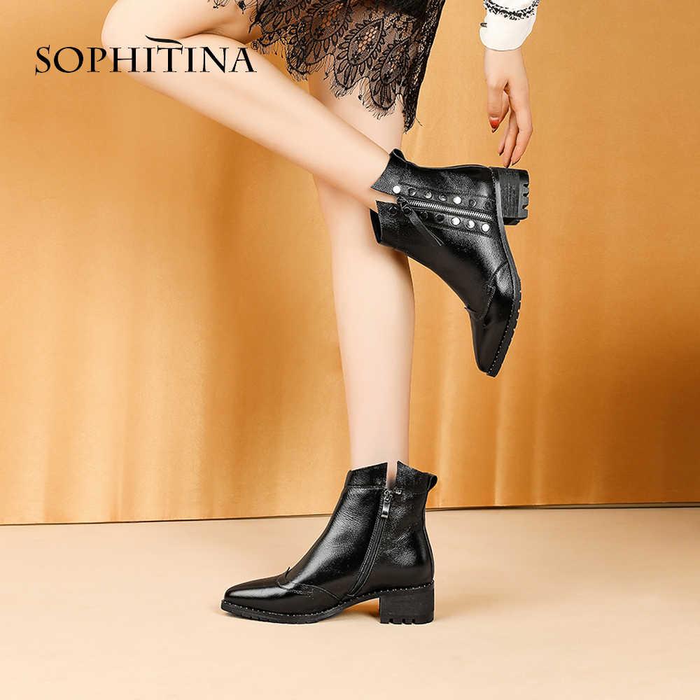 SOPHITINA şık bayanlar yarım çizmeler seksi sivri burun el yapımı kare topuk ayakkabı yeni hakiki deri Med topuk kadın botları MO276