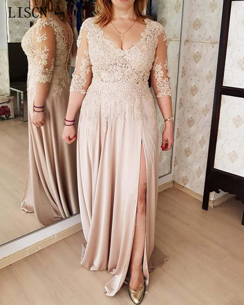 Plus Size Lace Beaded Three Quarter Sleeve Sheath Mother Of The Bride Dress Appliques Sexy High Split Formal Gown Robe De Soiree