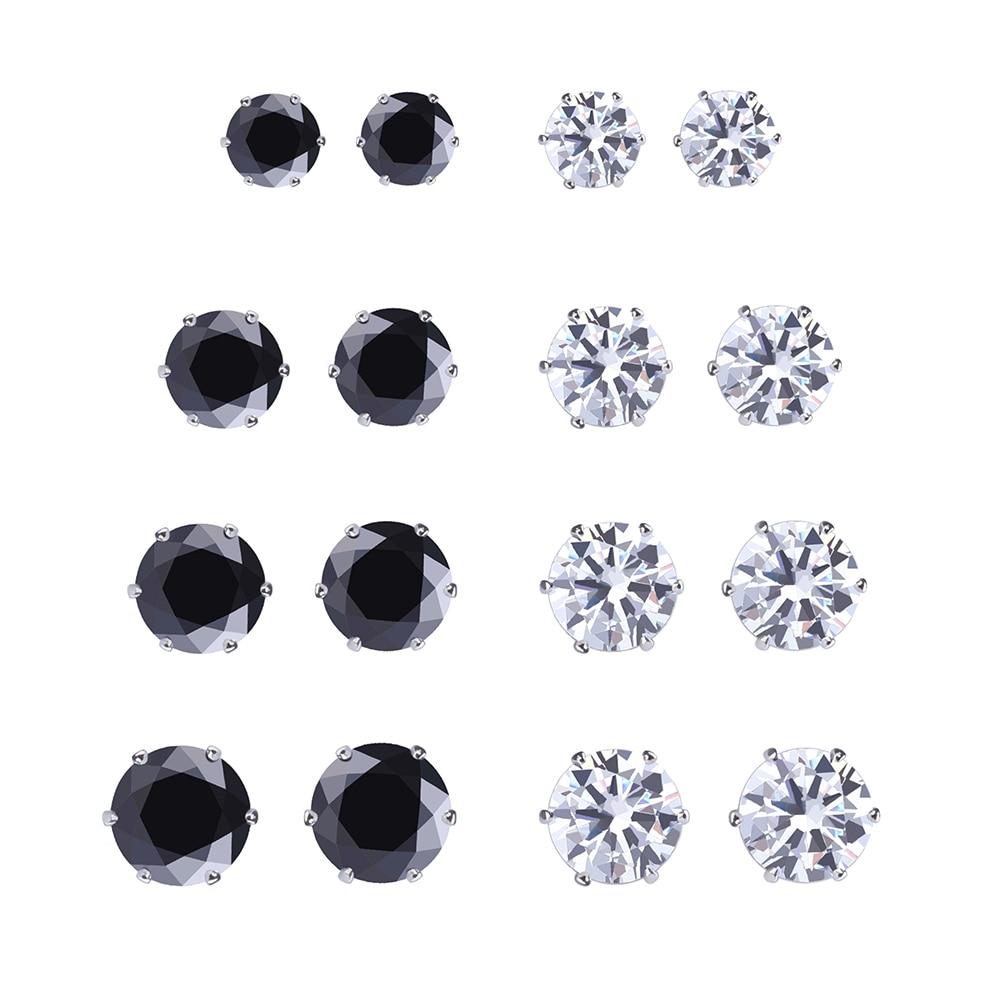925 8 paires/ensemble nouveau noir/argent Zircon boucles d'oreilles ensemble pour les femmes simulé perle Piercing géométrique boucles d'oreilles bijoux de mode